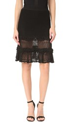 Jonathan Simkhai Ruffle Crochet Layered Skirt Black