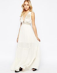 Kiss The Sky Utopia Maxi Dress With Embroidered Detail Cream