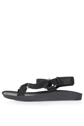 Topshop Hitch Glitter Sporty Sandals Black