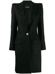 Balmain Single Breasted Fitted Long Coat Black