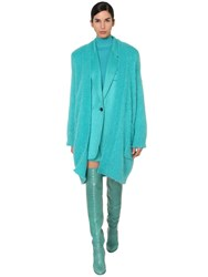 Max Mara Long Mohair And Wool Blend Knit Cardigan Turquoise