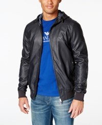 Armani Jeans Men's Blouson Hooded Faux Leather Jacket