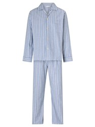 Derek Rose Brushed Cotton Stripe Pyjamas Blue White