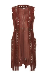 Roberto Cavalli Studded Leather Vest Burgundy