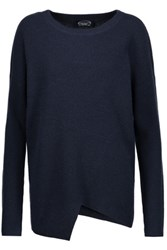 Magaschoni Asymmetric Ribbed Wool And Cashmere Blend Sweater Midnight Blue