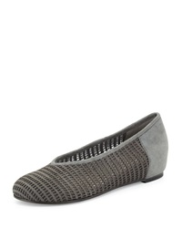 Patch Perforated Suede Flat Eileen Fisher