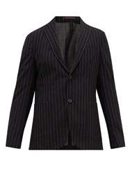The Gigi Pinstriped Wool Blend Seersucker Suit Jacket Black White