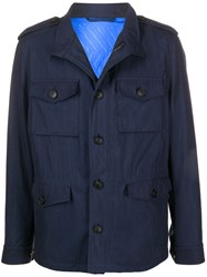 Etro Front Buttoned Utility Jacket Blue