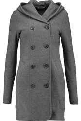 James Perse Double Breasted Cotton Hooded Coat Gray