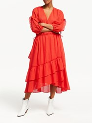 And Or Roxy Wrap Over Sheer Stripe Dress Red