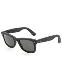 Ray Ban Ray Ban Wayfarer Leather Sunglasses Black And Polarised Green