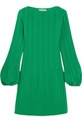 Maje Pleated Crepe Mini Dress Forest Green