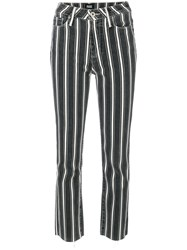 Paige Striped Cropped Trousers Black