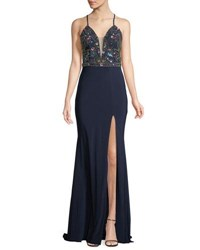 Faviana Embellished Lace Up Jersey Gown Navy