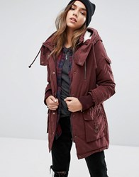Noisy May Hooded Parka Coat Decadent Choc Brown