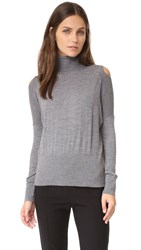 Vince Split Shoulder Turtleneck H Stone