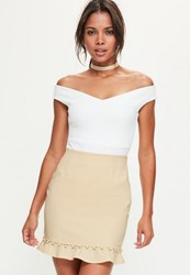 Missguided Nude Button Frill Hem Detail Mini Skirt Tan
