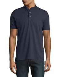 Selected Textured Stretch Cotton Henley Ombre Blue