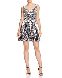 Karen Millen Printed Fit And Flare Dress Black White