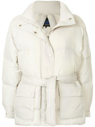 Sjyp Belted Puffer Jacket Nude And Neutrals