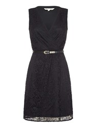 Yumi Lace Wrap Front Belted Dress Black