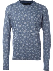 Hydrogen Star Print Knitted Jumper Blue