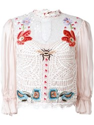 Temperley London Aura Lace Sleeved Blouse Nude Neutrals
