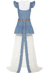 Alessandra Rich Chambray Mini Dress And Lace Maxi Skirt Set Blue