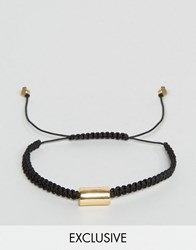 Designb London Woven Cord Bracelet In Black Black