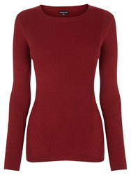 Warehouse Fashioned Ribbed Crew Jumper Dark Red