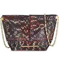 Roland Mouret Classico Origami Snakeskin Cross Body Bag Pink Purple