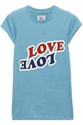 Zoe Karssen Woman Love Love Printed Cotton Jersey T Shirt Light Blue
