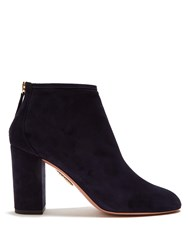 Aquazzura Downtown Suede Ankle Boots Navy