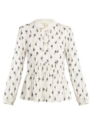 Rebecca Taylor Tulip Print Silk Blend Blouse White Multi