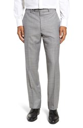 John W. Nordstrom Big And Tall Traditional Fit Flat Front Solid Wool Trousers Grey Pearl