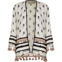 River Island White Embellished Print Long Sleeve Kimono