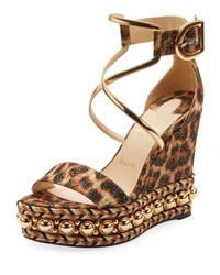 Christian Louboutin Chocazeppa Leopard Wedge Red Sole Espadrille Sandals