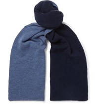 Isaia Reversible Cashmere Scarf Navy