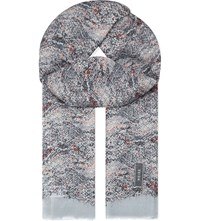 Reiss Terri Printed Scarf Woven Grey Blue Pink
