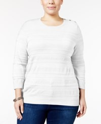 Karen Scott Plus Size Jacquard Sweater Only At Macy's Winter White
