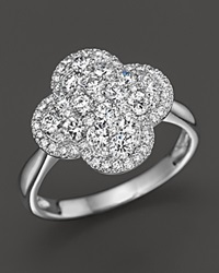 Bloomingdale's Diamond Cluster Clover Ring In 14K White Gold 1.0 Ct. T.W.