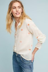 Intropia Grace Embroidered Buttondown Ivory