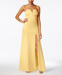 B. Darlin B Juniors' Strapless Sweetheart Slit Gown Bright Yellow