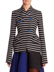 Proenza Schouler Double Breasted Striped Jacket Black White Stripe