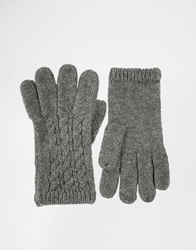 Asos Wool Cable Gloves Grey