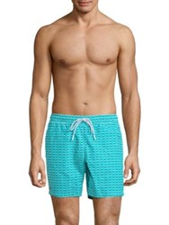 Lacoste Line Dot Swim Trunks Bermuda White