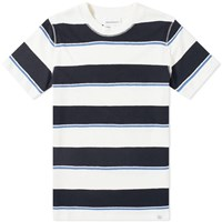 Norse Projects Johannes Textured Stripe Tee Blue