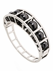 Karen Millen Cube Cage Pearl Bangle Metalic