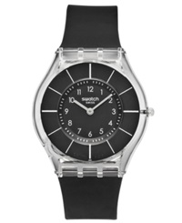 Swatch Watch Unisex Swiss Black Classiness Black Silicone Strap 34Mm Sfk361