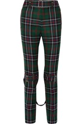Gucci Tartan Wool Slim Leg Pants Emerald